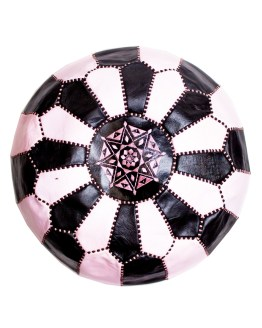 Black - White-pink Mix Pouf-0