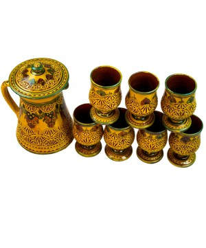 Collection Ceramic Jug Engraved in yellow-0