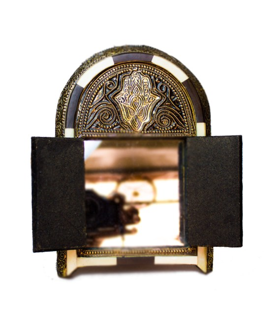 Moroccan Brass Mirror decorated with Camel bone-3331