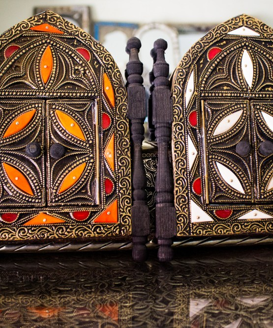 Moroccan Brass Mirror decorated with Camel bone-3326