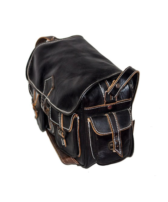 handmade Black Bowler bag-3499