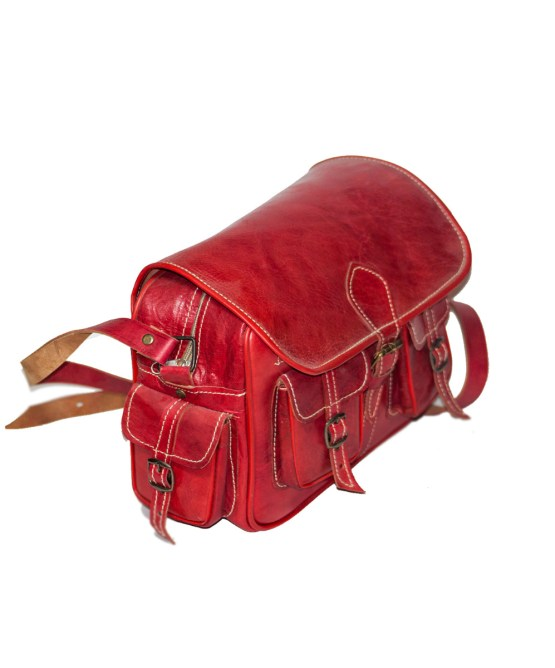 handmade Red Bowler bag-3501