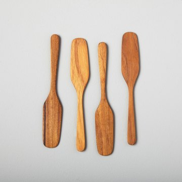 Teak Oar Shaped Spreaders, Set of 4