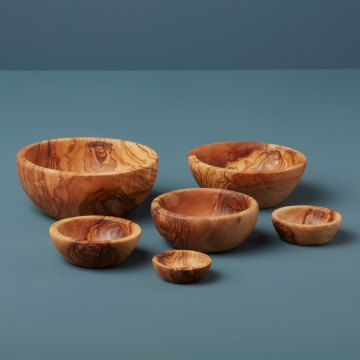 Olive Wood Nesting Bowls, Set of 6