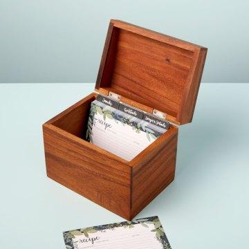 Acacia Recipe Box with Recipe Cards