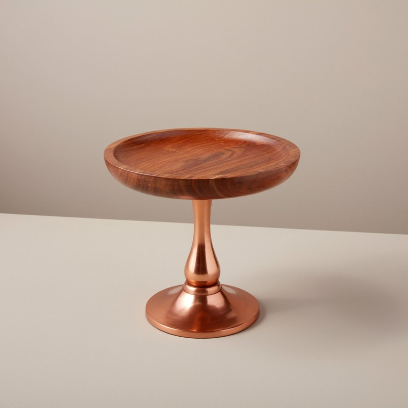Copper & Wood Cake Stand, Small
