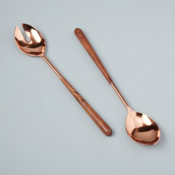 Copper & Wood Serving Set