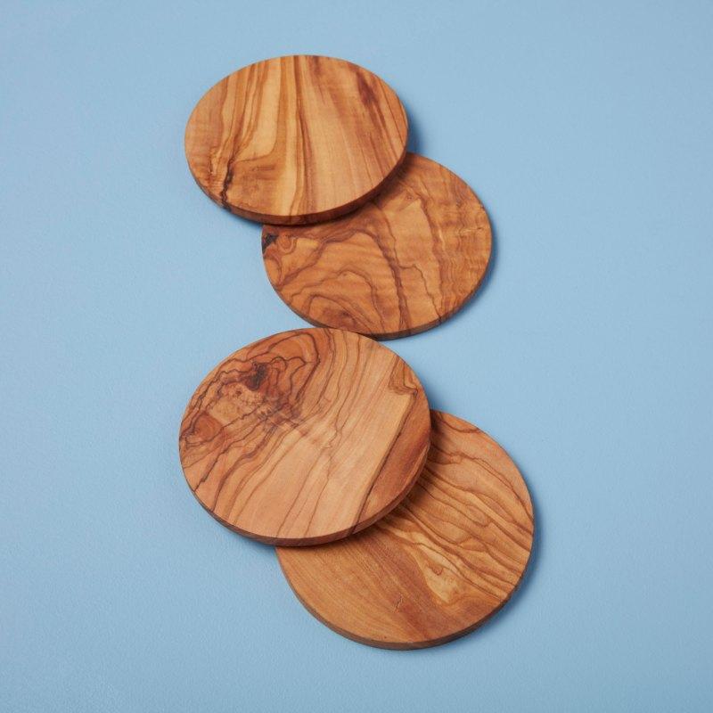 Olive Wood Round Coasters Set of 4