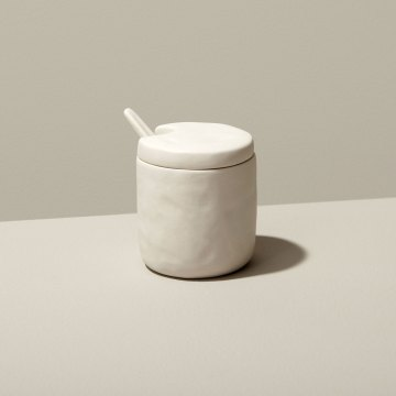 Stoneware Cellar and Spoon White