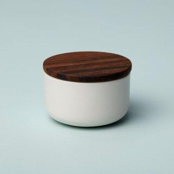 Stoneware Container with Acacia Lid, Medium, White