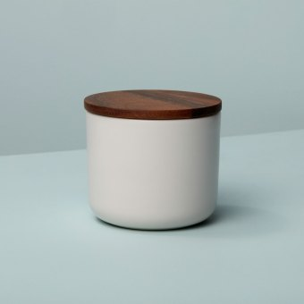 Stoneware Container with Acacia Lid, Large, White