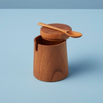 Teak Round Cellar with Lid & Spoon