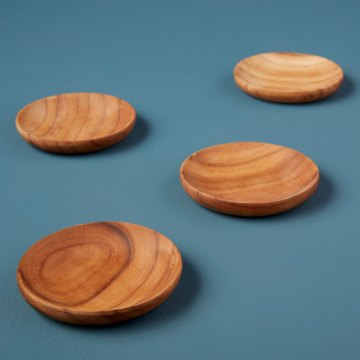 Teak Pinch Bowls Set of 4