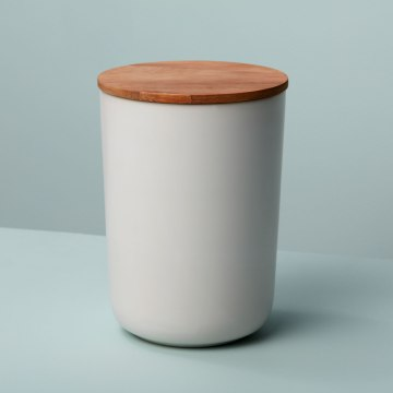 Stoneware Container with Acacia Lid Extra Large White
