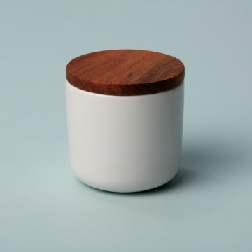 Stoneware Container with Acacia Lid Small White