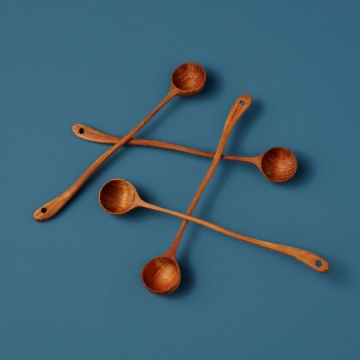 Teak Long Curved Spoons, Set of 4