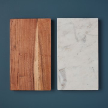 White Marble & Wood Reversible Rectangular Board, Large