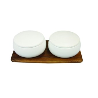 Stoneware Canister with Lid White