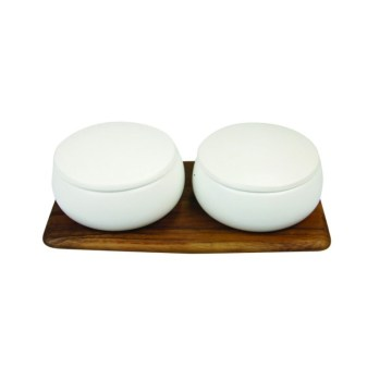 Stoneware Container Set of 2 with Acacia Tray, White