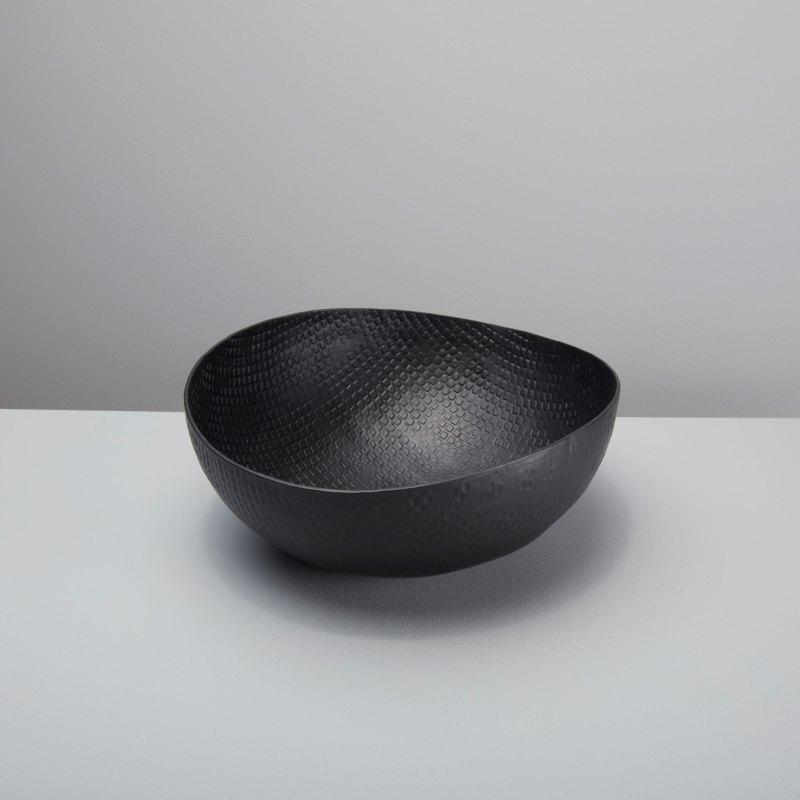 Black Crosshatch Aluminum Bowl Large