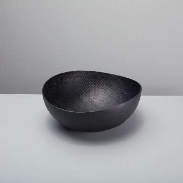 Black Crosshatch Aluminum Bowl Large