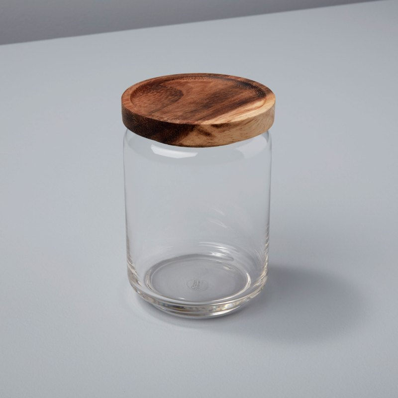 Glass Container with Acacia Lid, Medium
