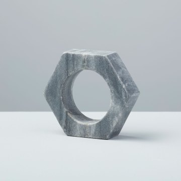 Gray Marble Hexagon Napkin Ring