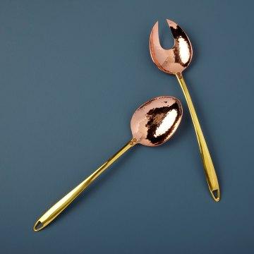 Hammered Copper and Gold Serving Set