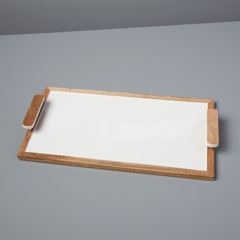 Mango Wood & White Enamel Rectangular Tray