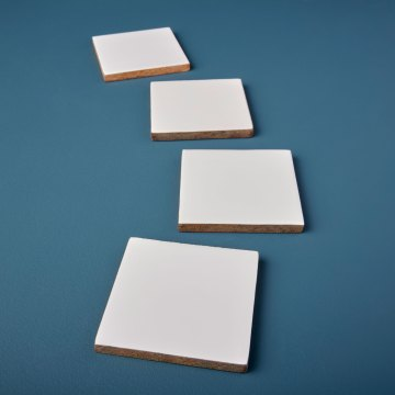 Mango Wood & White Enamel Square Coasters, Set of 4