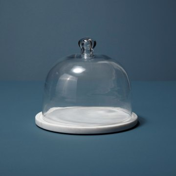 White Marble & Glass Cloche