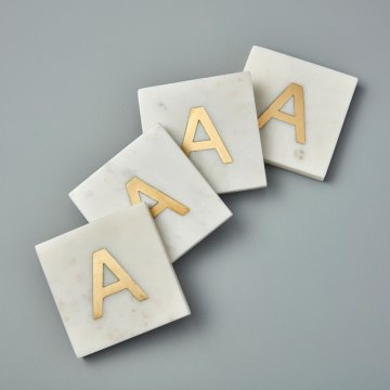 White Marble with Gold Monogram Coasters, S/4 Letter A