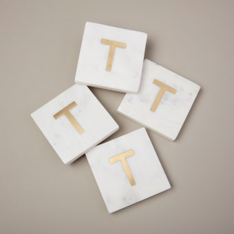 White Marble with Gold Monogram Coasters, S/4 Letter O