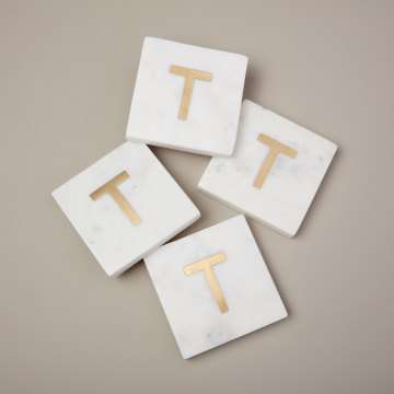 White Marble with Gold Monogram Coasters, S/4 Letter T