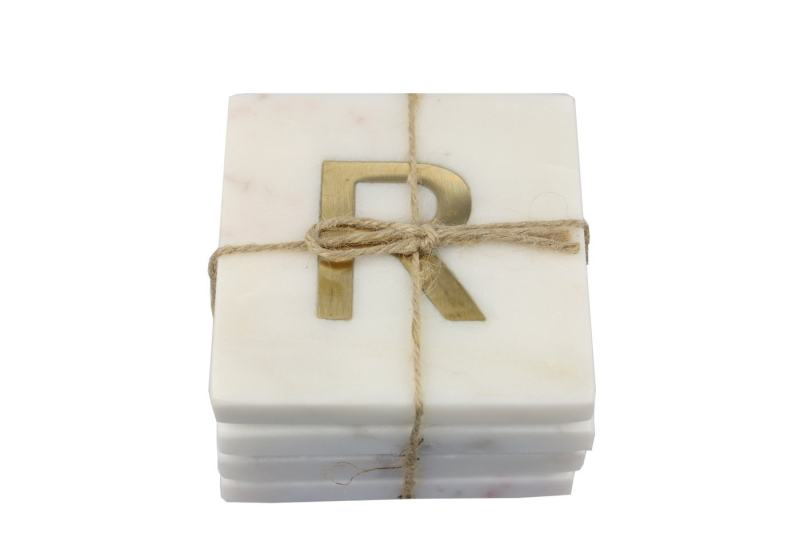 White Marble with Gold Monogram Coasters, S/4 Letter R