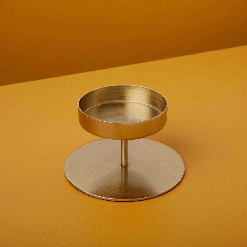 Gold Pillar Candle Holder, Short