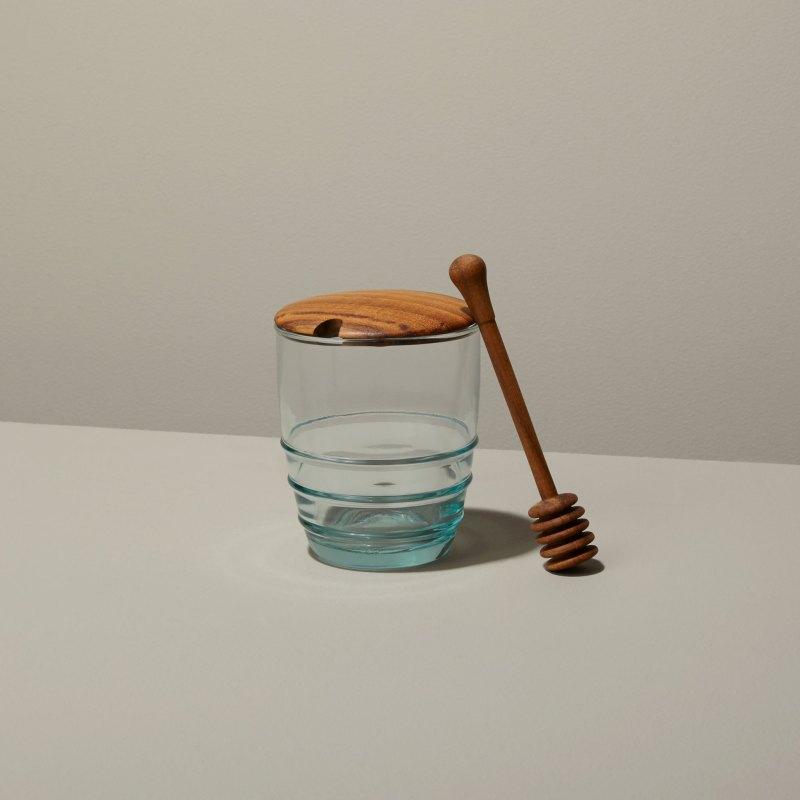 Recycled Glass & Teak Jar Set Honey Dip