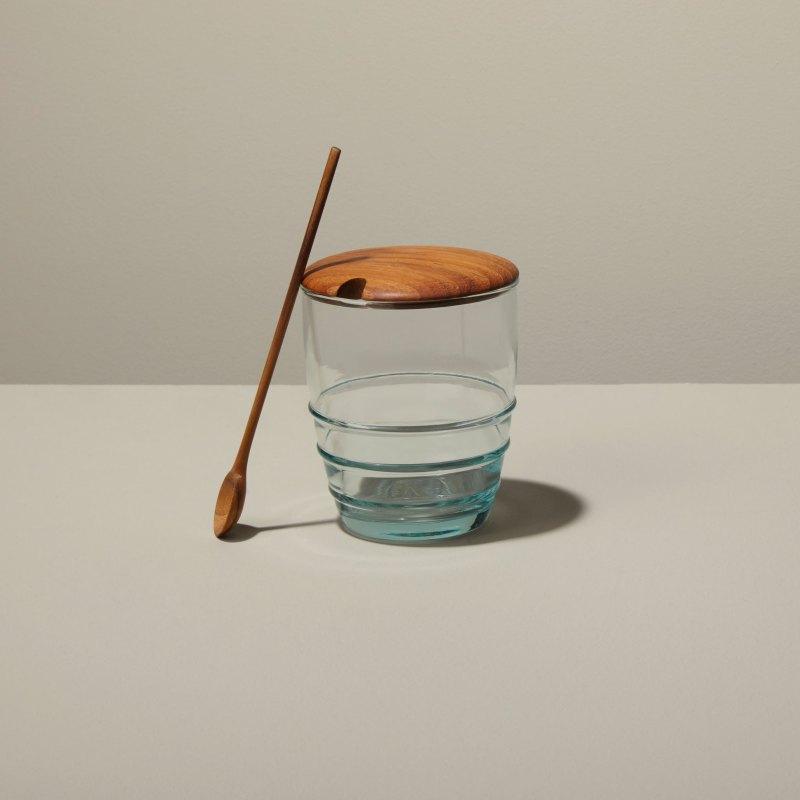 Recycled Glass & Teak Jar Set Spoon