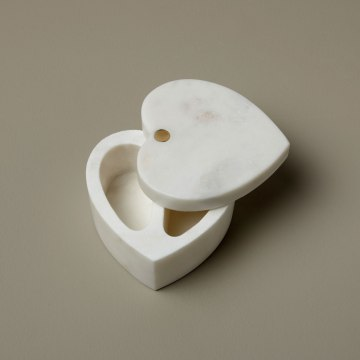 White Marble Heart Cellar with Pivoting Lid