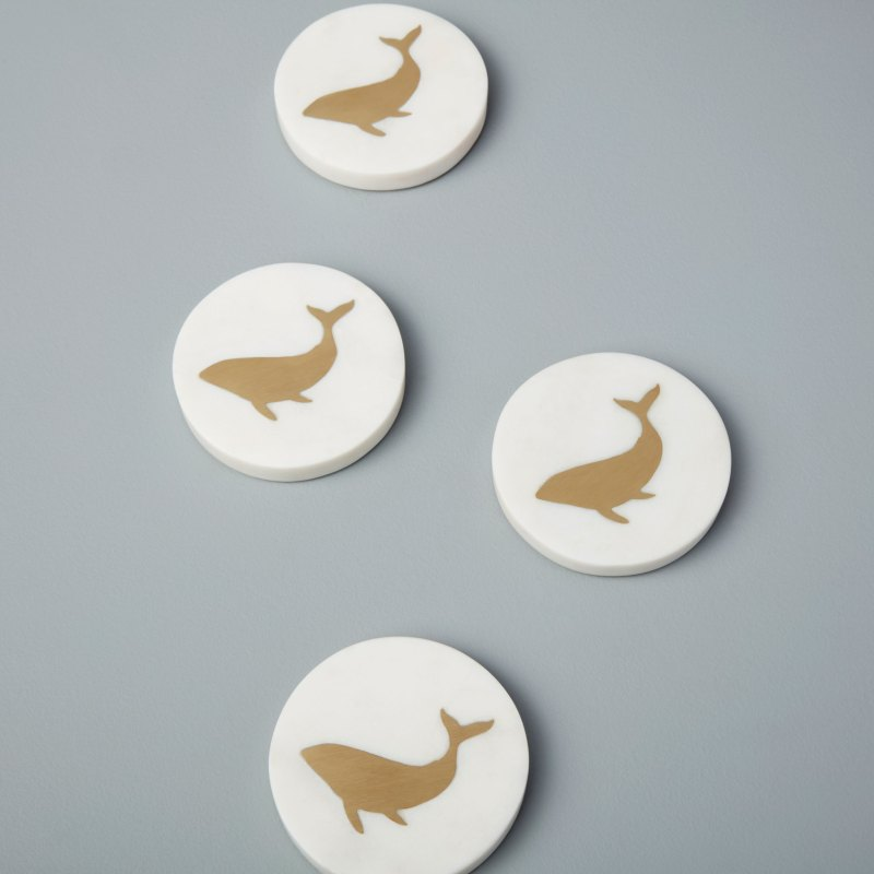 White Marble & Gold Round Whale Coasters, Set of 4