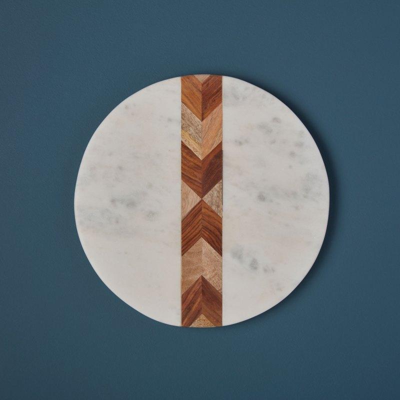 White Marble & Wood Mosaic Round Board