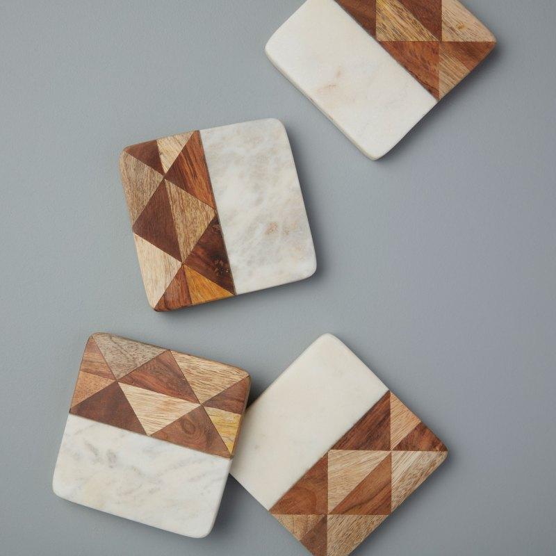 White Marble & Wood Mosaic Square Coasters Set of 4