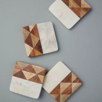 White Marble & Wood Mosaic Square Coasters Set of 4