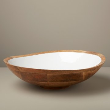 Mango Wood & White Enamel Bowl Extra Large