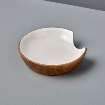 Mango Wood & White Enamel Serving Set