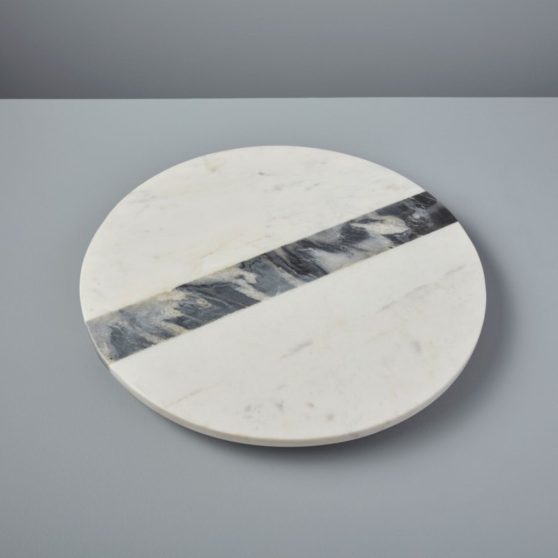 White & Gray Marble Lazy Susan
