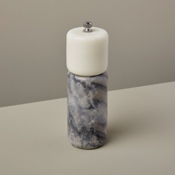 White & Gray Marble Salt Mill