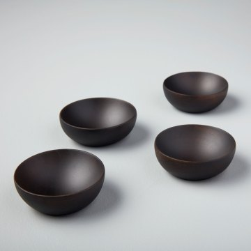 Ebony Teak Round Bowls, Set of 4
