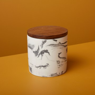 Marbled Cement Container with Wood Lid, Black