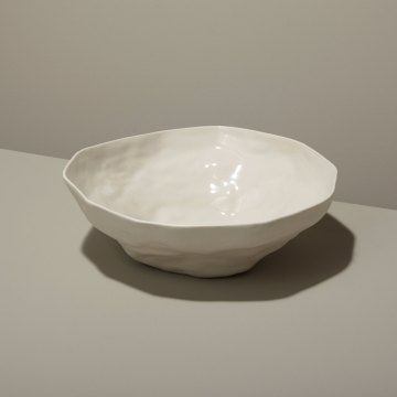 Stoneware Bowl, White, Large